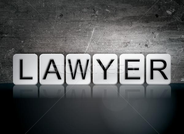 Avvocato piastrellato lettere parola scritto bianco Foto d'archivio © enterlinedesign