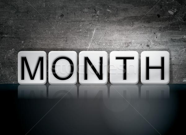 месяц плиточные письма слово написанный белый Сток-фото © enterlinedesign