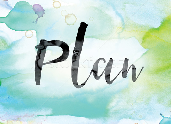 Plan Colorful Watercolor and Ink Word Art Stock photo © enterlinedesign