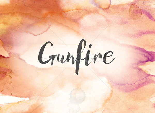Gunfire Concept Watercolor and Ink Painting Stock photo © enterlinedesign