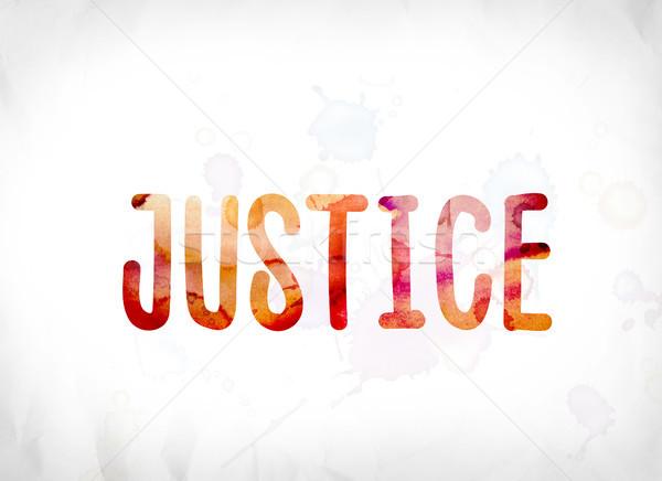 正義 描いた 水彩画 言葉 芸術 カラフル ストックフォト © enterlinedesign