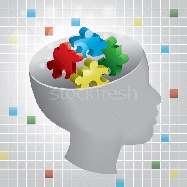 Criança autismo perfil cabeça simbólico peças do puzzle Foto stock © enterlinedesign