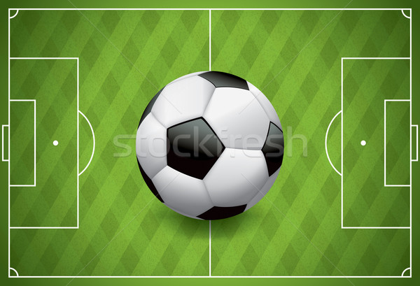 Gerçekçi futbol futbol topu alan çim Stok fotoğraf © enterlinedesign