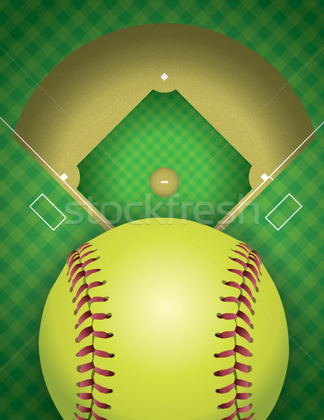 Softball domaine balle illustration vecteur Photo stock © enterlinedesign