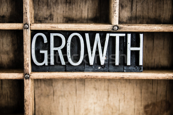 Growth Concept Metal Letterpress Word in Drawer Stock photo © enterlinedesign