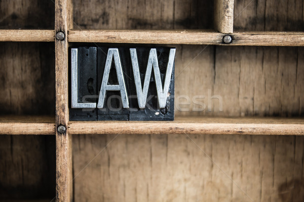 Law Concept Metal Letterpress Word in Drawer Stock photo © enterlinedesign