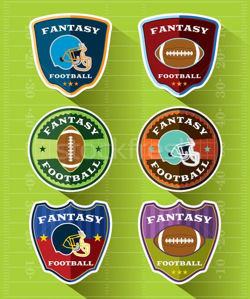 Fantasía fútbol insignias establecer diseno americano Foto stock © enterlinedesign