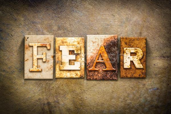 Fear Concept Letterpress Leather Theme Stock photo © enterlinedesign