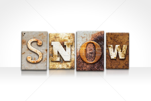 Snow Letterpress Concept Isolated on White Stock photo © enterlinedesign