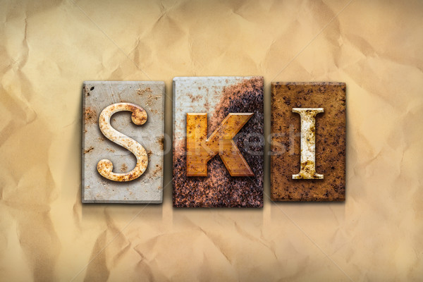 Ski Concept Rusted Metal Type Stock photo © enterlinedesign
