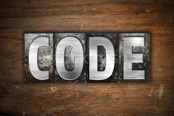 Stock photo: Code Concept Metal Letterpress Type