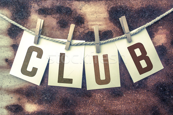 Club Concept Pinned Stamped Cards on Twine Theme Stock photo © enterlinedesign