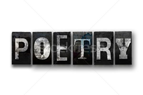 Poesie isoliert Buchdruck Typ Wort geschrieben Stock foto © enterlinedesign