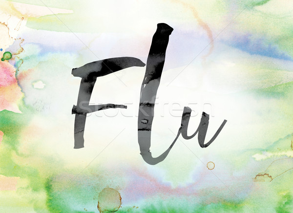 Flu Colorful Watercolor and Ink Word Art Stock photo © enterlinedesign