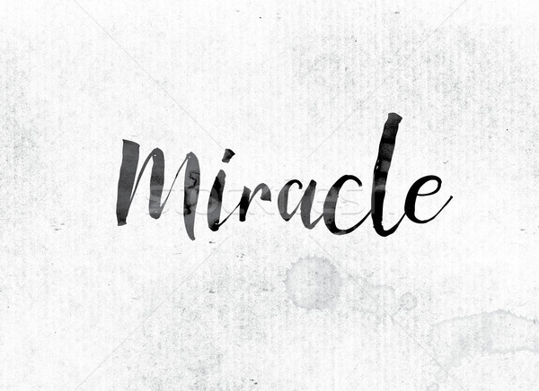 Miracle peint encre mot couleur pour aquarelle blanche Photo stock © enterlinedesign