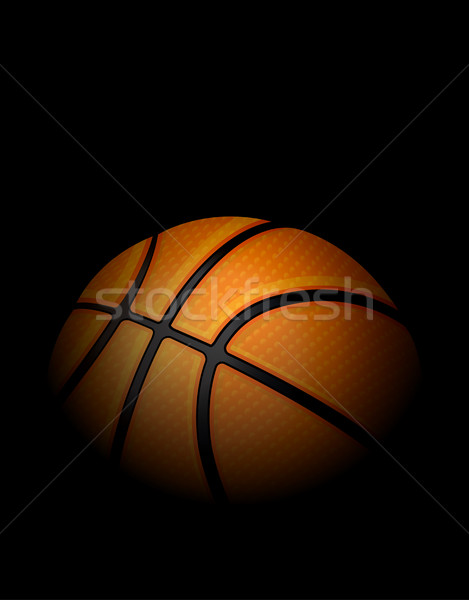 Realistic Basketball Illustration with Black Background Stock photo © enterlinedesign