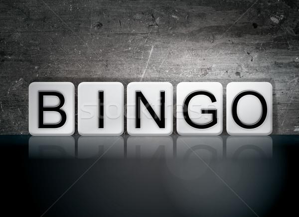 Bingo azulejos palavra escrito branco azulejos Foto stock © enterlinedesign