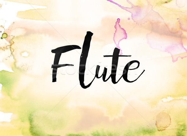 Flûte couleur pour aquarelle encre peinture mot écrit Photo stock © enterlinedesign