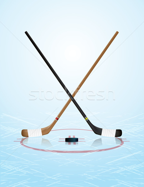 Jégkorong illusztráció jég pálya vektor eps Stock fotó © enterlinedesign