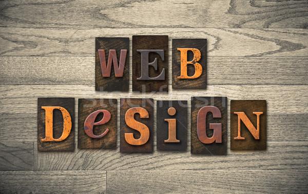 Web-Design Holz Buchdruck Worte geschrieben Jahrgang Stock foto © enterlinedesign