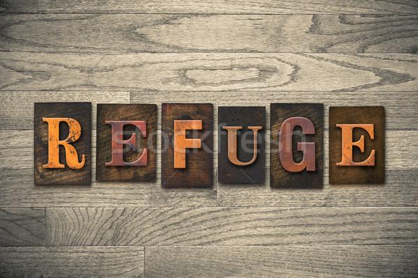 Refuge Wooden Letterpress Theme Stock photo © enterlinedesign