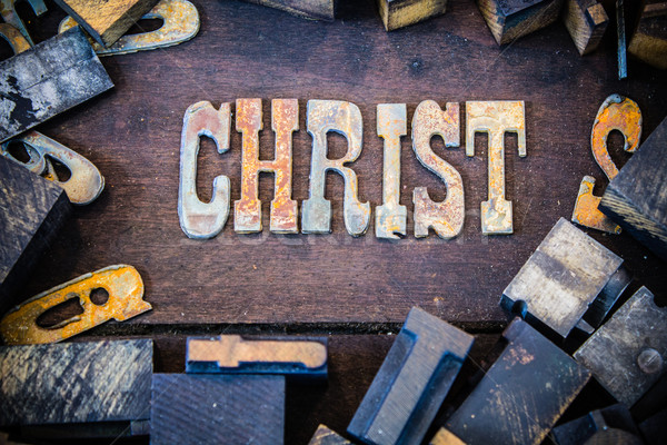 Christ Concept Rusty Type Stock photo © enterlinedesign