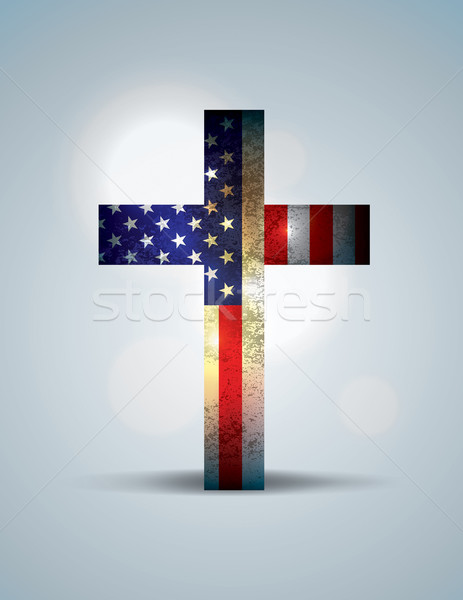 Christian croix drapeau américain illustration religieux patriotique Photo stock © enterlinedesign