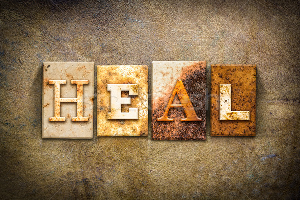 Heal Concept Letterpress Leather Theme Stock photo © enterlinedesign