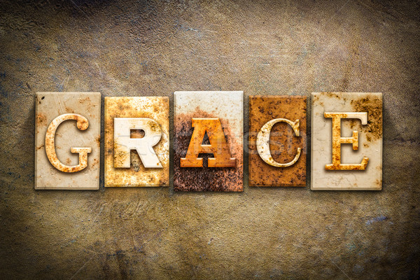 Grace Concept Letterpress Leather Theme Stock photo © enterlinedesign
