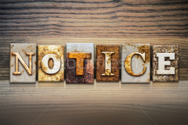 Notice Concept Letterpress Theme Stock photo © enterlinedesign