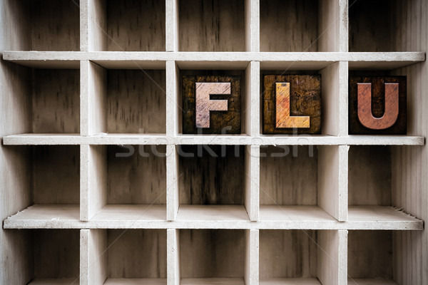 Flu Concept Wooden Letterpress Type in Draw Stock photo © enterlinedesign