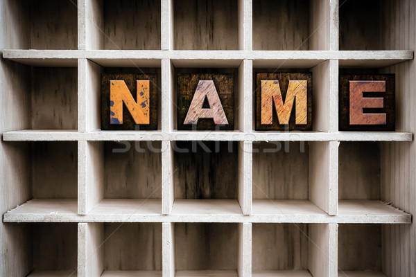 Name Concept Wooden Letterpress Type in Drawer Stock photo © enterlinedesign