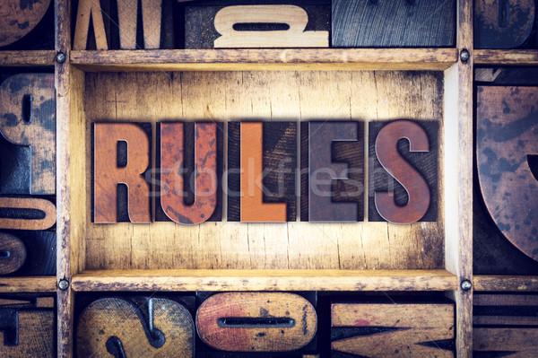 Kurallar tip kelime yazılı bağbozumu Stok fotoğraf © enterlinedesign