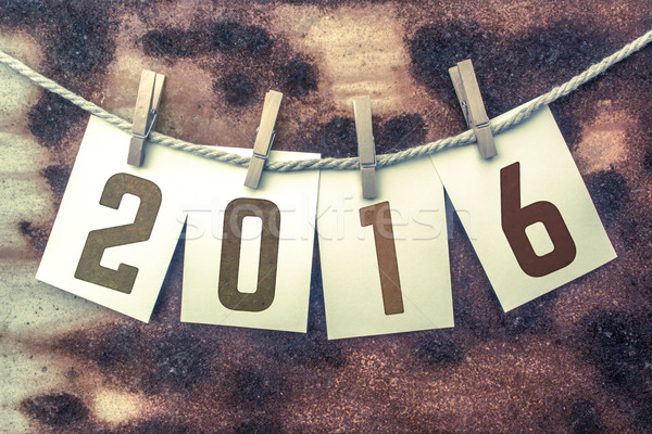 2016 Concept Pinned Stamped Cards on Twine Theme Stock photo © enterlinedesign