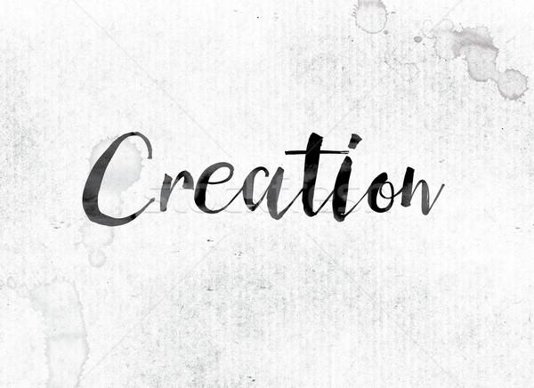Сток-фото: создание · окрашенный · чернила · слово · акварель · белый