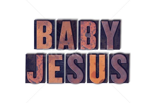 Baby jesus geïsoleerd woord geschreven Stockfoto © enterlinedesign