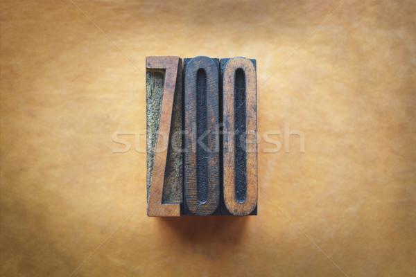зоопарке слово написанный Vintage тип Сток-фото © enterlinedesign