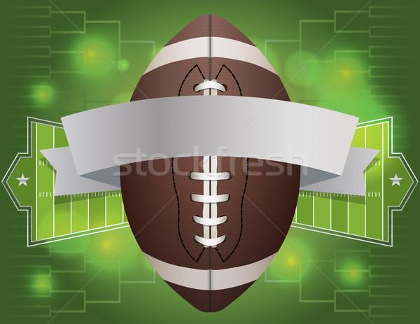 Amerikai futball szalag illusztráció mező vektor Stock fotó © enterlinedesign