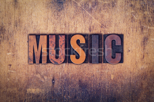 Music Concept Wooden Letterpress Type Stock photo © enterlinedesign