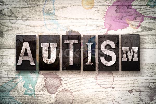 Autisme metaal type woord geschreven Stockfoto © enterlinedesign