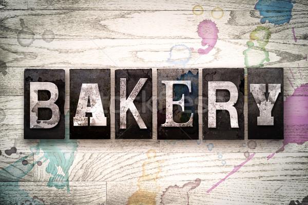 Bakery Concept Metal Letterpress Type Stock photo © enterlinedesign