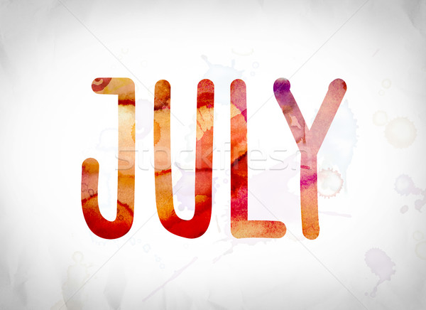 July Concept Watercolor Word Art Stock photo © enterlinedesign