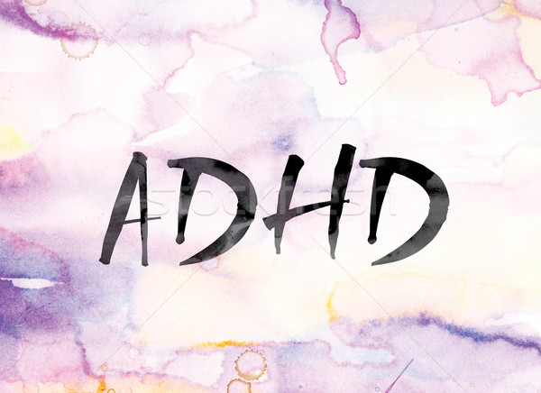 ADHD Colorful Watercolor and Ink Word Art Stock photo © enterlinedesign