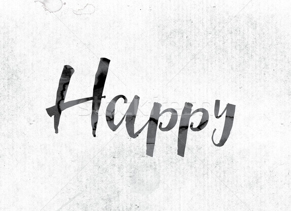 Happy Concept Painted in Ink Stock photo © enterlinedesign