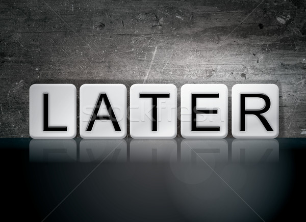 Csempézett levelek szó írott fehér csempék Stock fotó © enterlinedesign