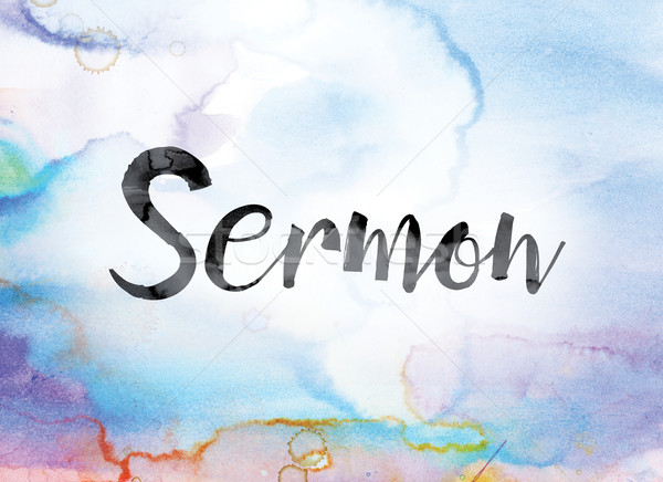 Sermon Colorful Watercolor and Ink Word Art Stock photo © enterlinedesign