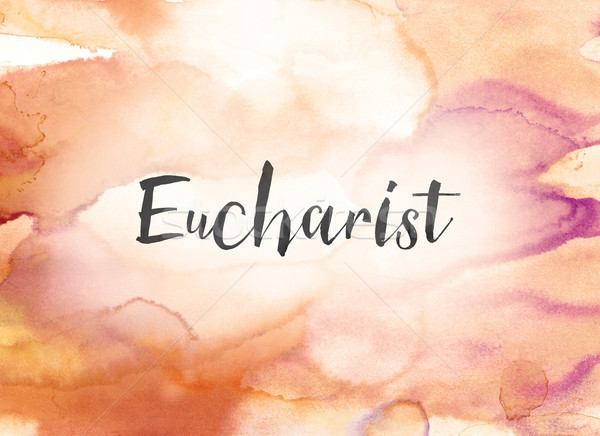 Eucharist Concept Watercolor and Ink Painting Stock photo © enterlinedesign