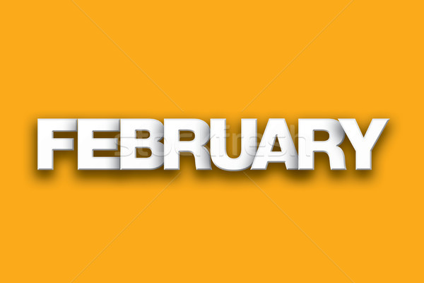 February Theme Word Art on Colorful Background Stock photo © enterlinedesign