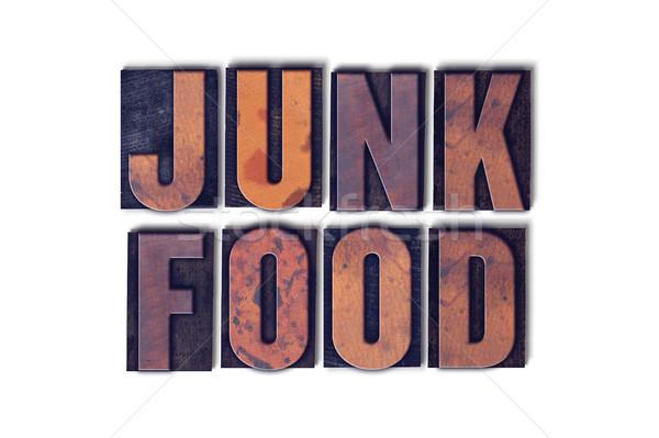 Ungesundes Essen isoliert Buchdruck Wort Worte geschrieben Stock foto © enterlinedesign