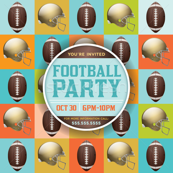 Football Pattern Party Invitation Stock photo © enterlinedesign